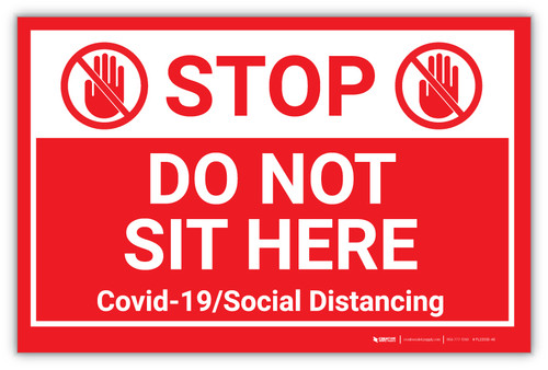 STOP: Do Not Sit Here - Covid-19/Social Distancing - Label