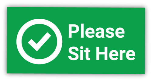 Please Sit Here with Checkmark - Label