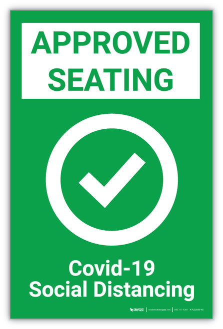 Approved Seating - Covid-19/Social Distancing - Label