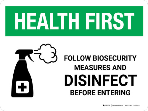 Health First: Follow Biosecurity Measures with Icon Landscape - Wall Sign