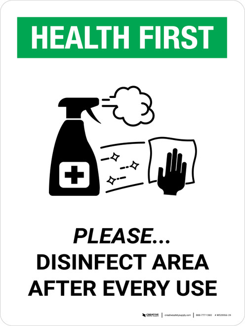 Health First: Please Disinfect Area with Icon Portrait - Wall Sign