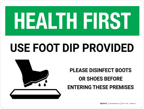 Health First: Use Foot Dip with Icon Landscape - Wall Sign