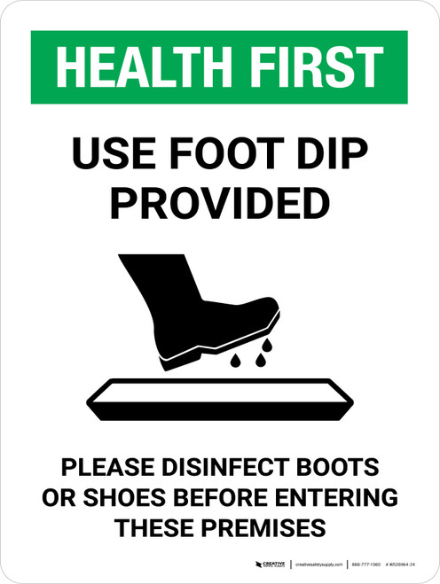 Health First: Use Foot Dip with Icon Portrait - Wall Sign