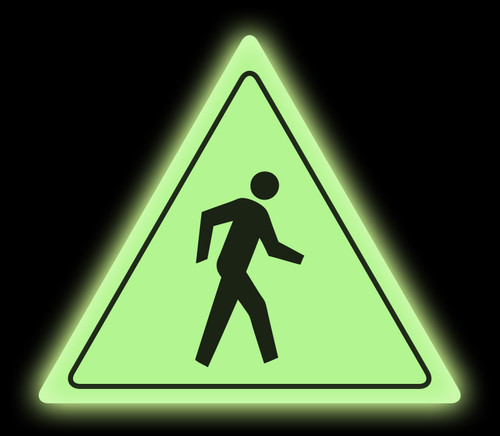 Glow in the Dark Yield Pedestrian Floor Sign