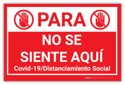STOP: Do Not Sit Here - Covid-19/Social Distancing Spanish - Label