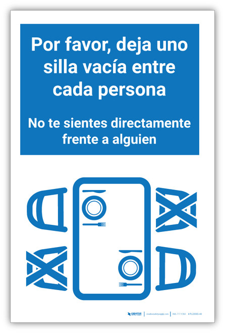 Please Leave One Empty Chair Between Each Person Spanish - Label