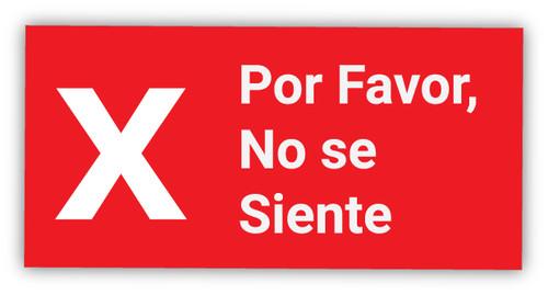 Please Do Not Seat X Symbol Spanish - Label