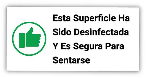 Esta Superficie Ha Sido Desinfectada Y Es Segura Para Sentarse - Label