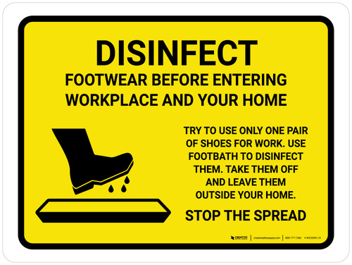 Disinfect Footwear Before Entering with Icon Yellow Landscape - Wall Sign