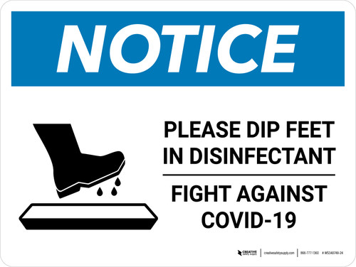 Notice Please Dip Feet In Disinfectant with Icon Landscape - Wall Sign