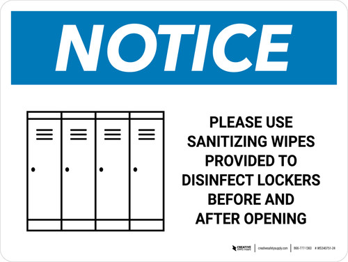 Notice Please Use Sanitizing Wipes To Disinfect Lockers with Icon Landscape - Wall Sign