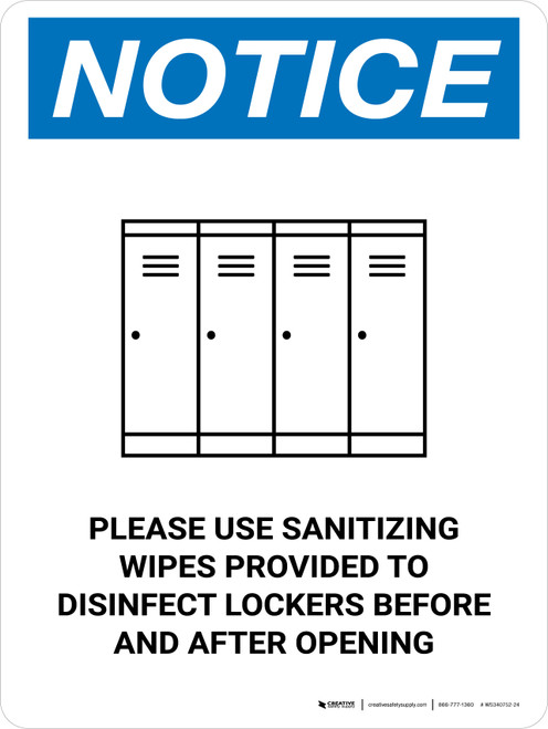 Notice Please Use Sanitizing Wipes To Disinfect Lockers with Icon Portrait - Wall Sign