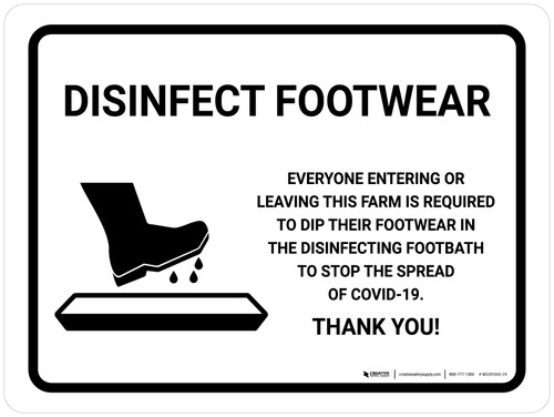 Disinfect Footwear Before Entering with Icon Landscape - Wall Sign