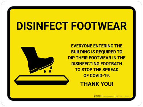Disinfect Footwear with Icon Yellow Landscape - Wall Sign