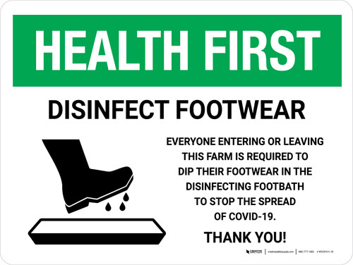 Health First Disinfect Footwear Before Entering with Icon Landscape - Wall Sign