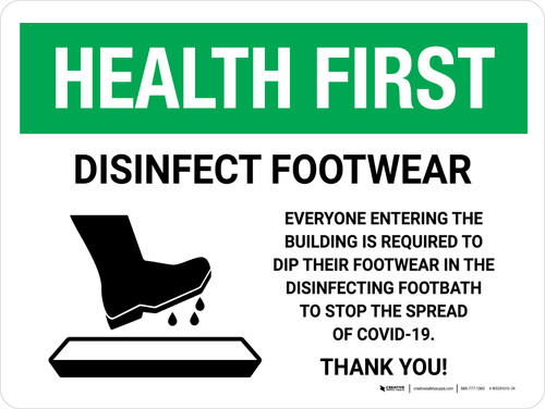 Health First Disinfect Footwear with Icon Landscape - Wall Sign
