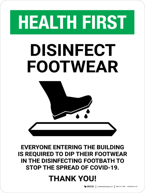 Health First Disinfect Footwear with Icon Portrait - Wall Sign
