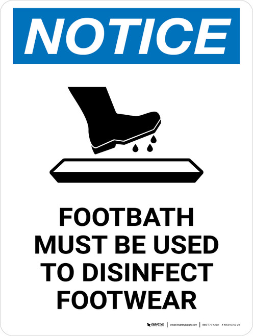 Notice Footbath Must Be Used with Icon Portrait - Wall Sign