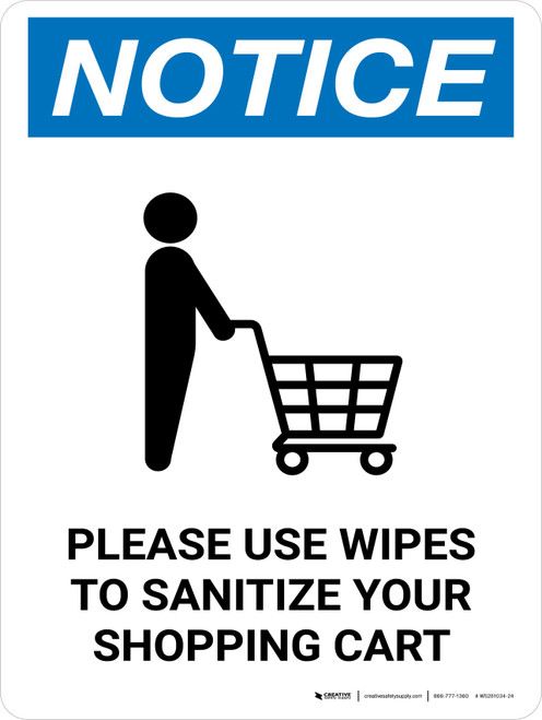 Notice: Please Use Wipes To Sanitize Shopping Cart with Icon Portrait - Wall Sign