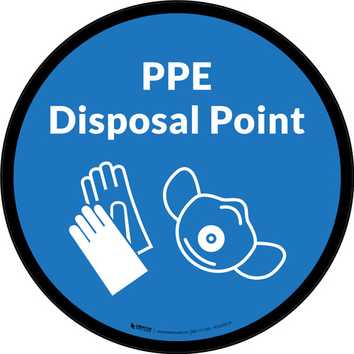 PPE Disposal Point with Icons Blue Circular - Floor Sign
