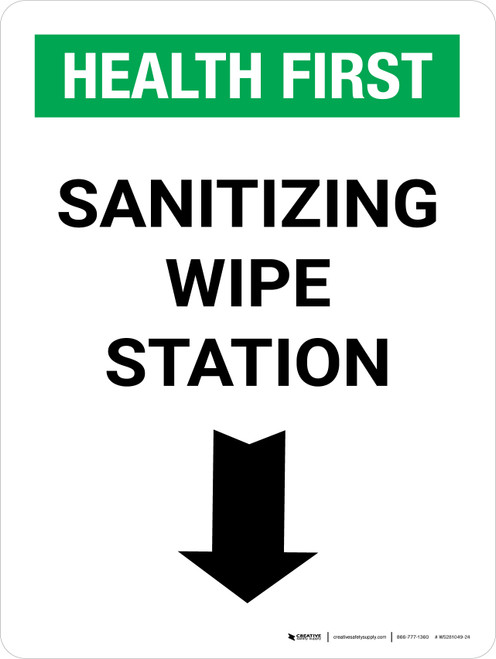 Health First: Sanitizing Wipe Station with Down Arrow Portrait - Wall Sign