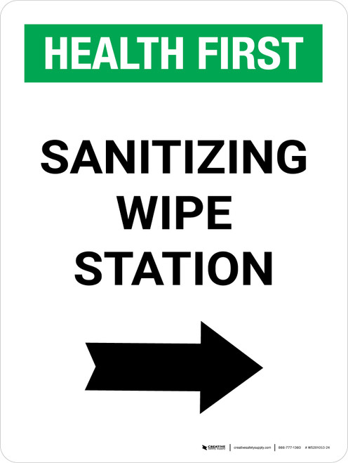 Health First: Sanitizing Wipe Station with Right Arrow Portrait - Wall Sign
