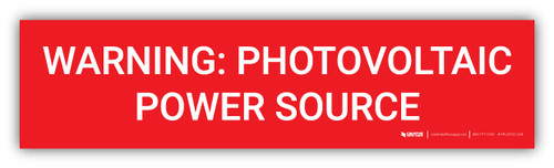 Warning Photovoltaic Power Source v2 - Arc Flash Label