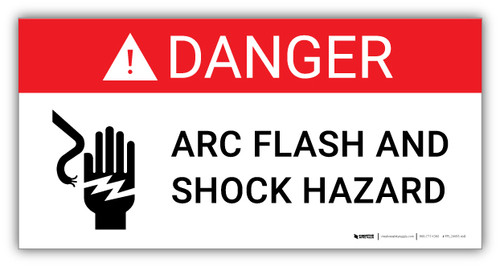 Danger Arc Flash and Shock Hazard with Icon - Arc Flash Label