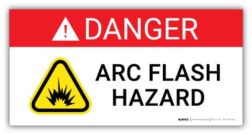 Danger Arc Flash Hazard with Hazard Icon - Arc Flash Label