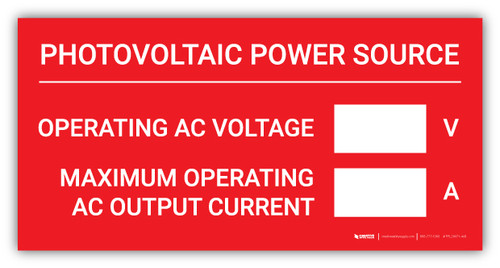 Photovoltaic Power Source with Write-In - Arc Flash Label