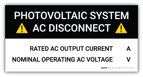Photovoltaic System AC Disconnect with Hazard Icons - Arc Flash Label