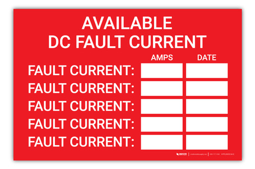 Available DC Fault Current Log - Arc Flash Label