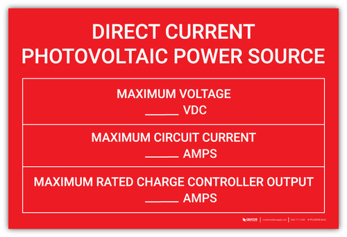 Direct Current Photovoltaic Power Source with Write-Ins - Arc Flash Label