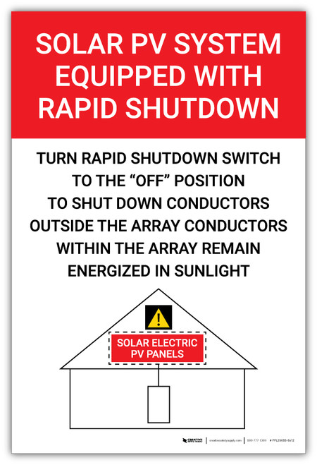 Solar PV System Equipped With Rapid Shutdown Turn Rapid Shutdown Red Vertical - Arc Flash Label