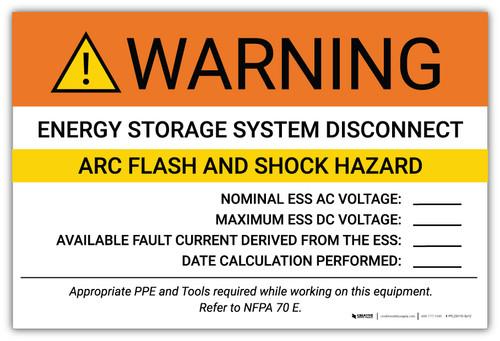 Warning: Energy Storage System Disconnect Arc Flash And Shock Hazard - Arc Flash Label