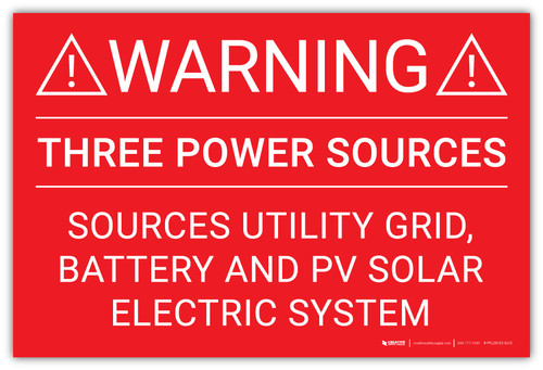 Warning: Three Power Sources Ultility Grid Battery And PV Solar - Arc Flash Label