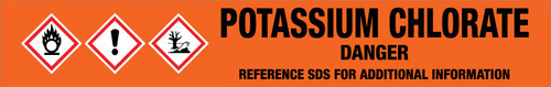Potassium Chlorate [CAS# 3811-04-9] - GHS Pipe Marking Label