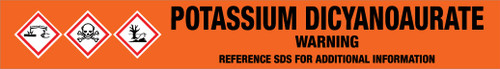 Potassium Dicyanoaurate [CAS# 13967-50-5] - GHS Pipe Marking Label