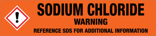 Sodium Chloride [CAS# 7647-14-5] - GHS Pipe Marking Label