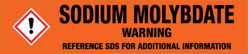 Sodium Molybdate [CAS# 7631-95-0] - GHS Pipe Marking Label