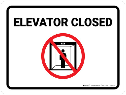 Elevator Closed with Icon Landscape - Wall Sign