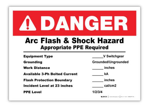 Custom Arc Flash Label