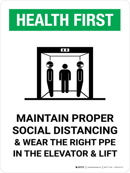 Health First: Social Distancing & PPE In Elevator with Icon Portrait - Wall Sign