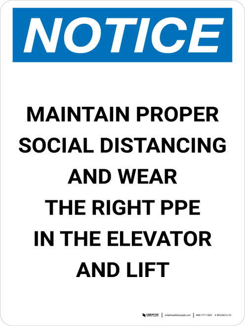 Notice: Social Distancing & PPE In Elevator Portrait - Wall Sign