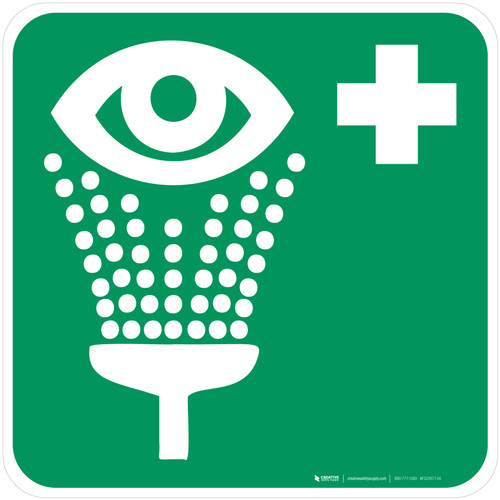 Eyewash Station Safe Condition - ISO Floor Sign