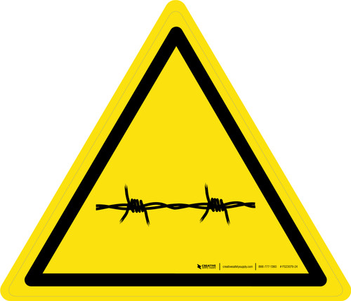 Barbed Wire Warning - ISO Floor Sign