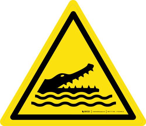 Crocodiles, Alligators or Caimans Warning - ISO Floor Sign