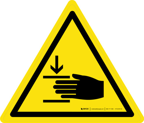 Crushing of Hands Warning - ISO Floor Sign