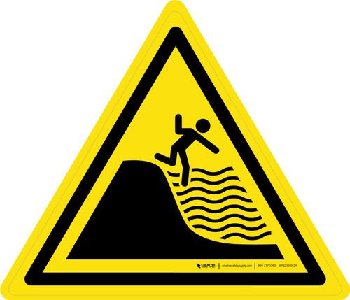 Deep Shelving Beach Warning - ISO Floor Sign