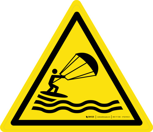 Kite Surfing Warning - ISO Floor Sign